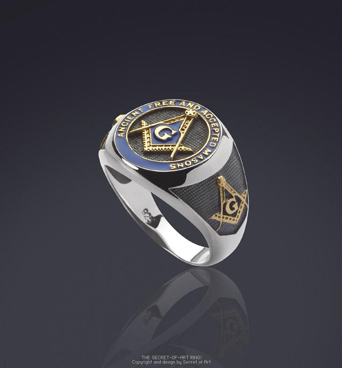 A F A M Masonic Ring Freemason Silver 925 Sterling With