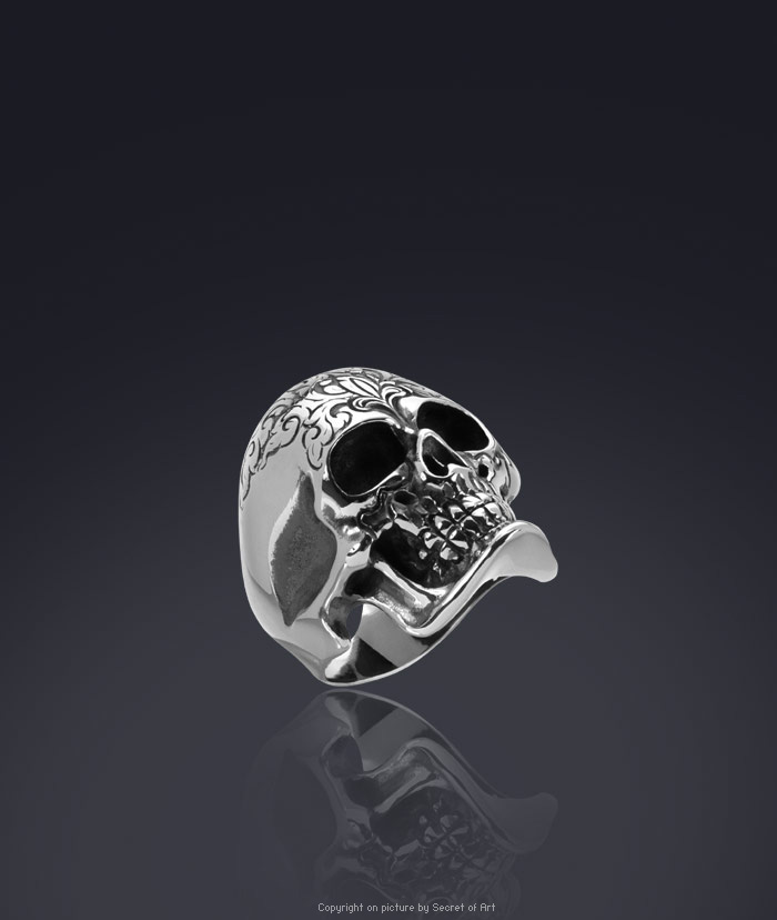 GIANT SKULL STAINLESS STEEL RING, DAY OF THE DEAD, DIA DE LOS MUERTOS
