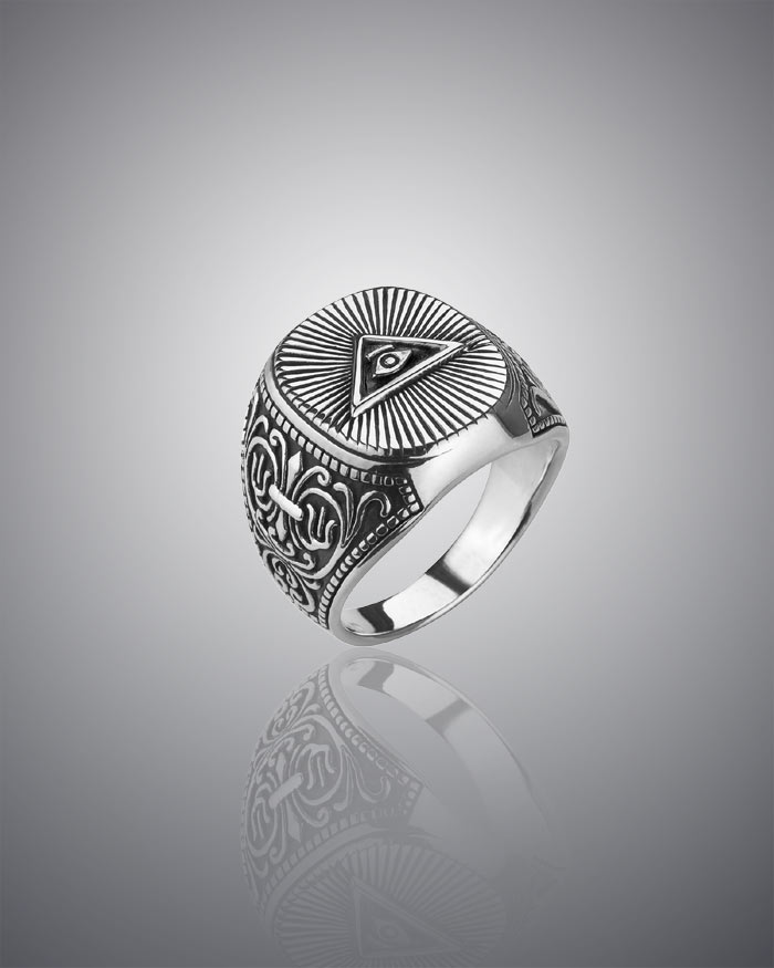 6e2c041aa7d8e Mens Masonic Ring All Seeing Eye Signet 925 Silver Sterling ...