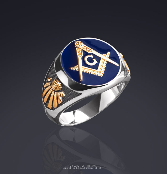 325924d6b6c1f Details about Masonic Ring Blue Lodge 925 Silver with 24K-Gold-Plated Parts  and All Seeing Eye