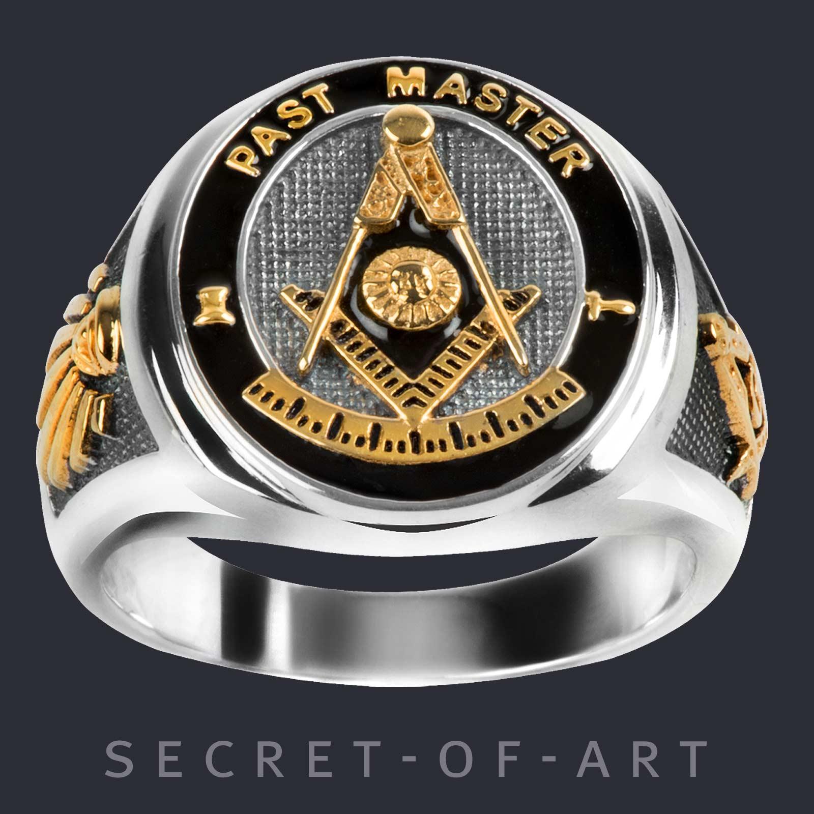 Blue Lodge Ring Masonic Signet Ring Freemason jewelry Master Mason gift Masonry Silver 925 Sterling with 24K Gold-Plated Parts