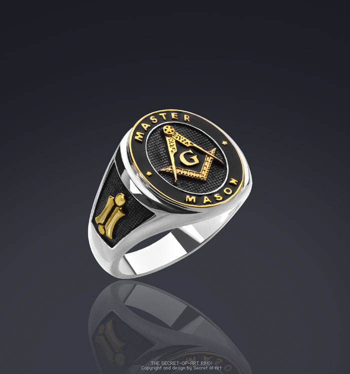 Masonic Ring Master Mason Silver 925 Sterling with 24K Gold Plated